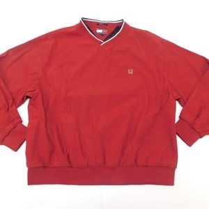 Tommy Hilfiger XL Red Windbreaker V Neck Polyester